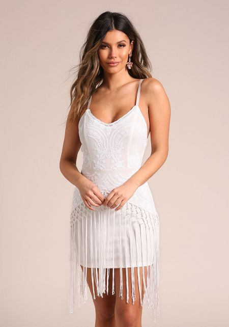White Sequin Tassel Layered Bodycon Dress