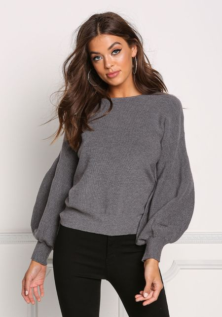 Grey Ribbed Knit Puffy Sleeve Sweater Top