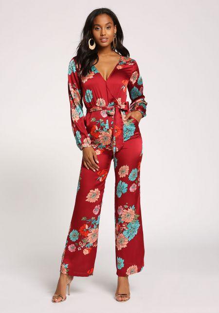 Burgundy Silky Floral Waist Tie Pocket Jumpsuit