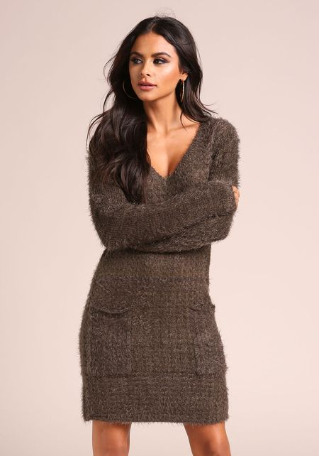 Olive Fuzzy Knit Pocket Sweater Dress
