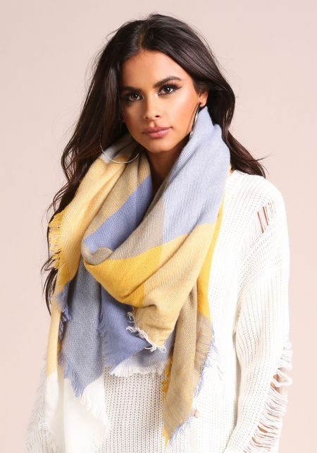 Mustard Large Checkered Scarf