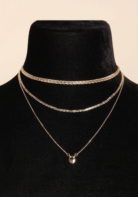 Gold Three Chain Cross Choker