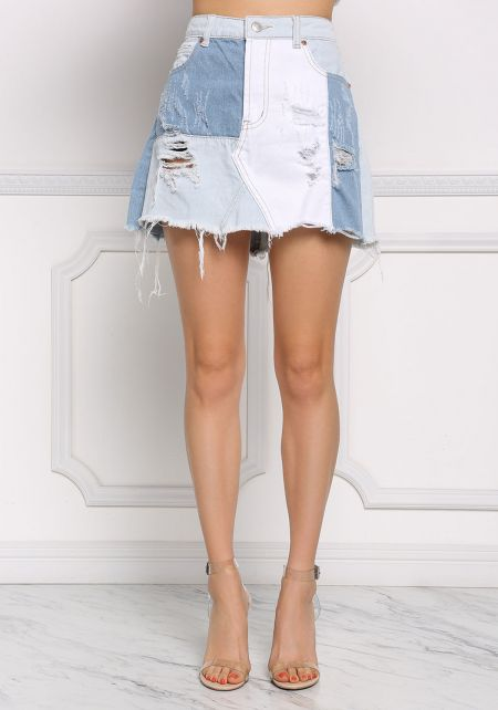 Light Denim Multi Patch Frayed Skirt