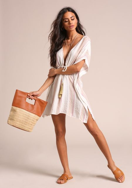 Ivory Pinstripe Tunic Cover Up Dress