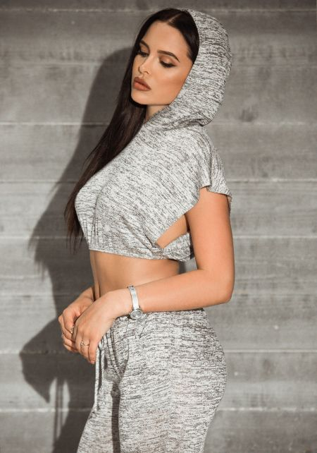 Heather Grey Marled Slit Hoodie Crop Top
