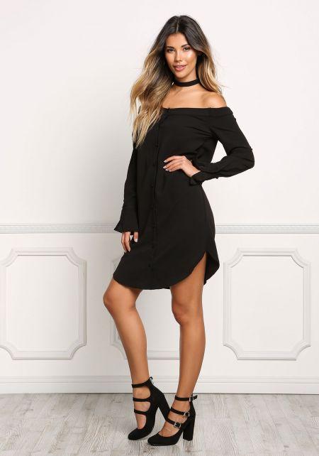 Black Off Shoulder Button Down Shift Dress