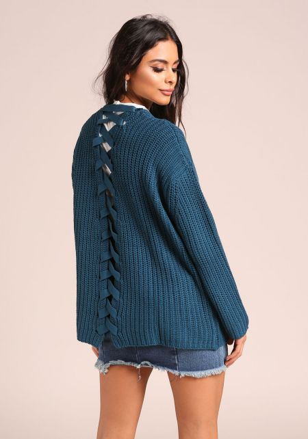 Teal Back Lace Up Thick Knit Cardigan