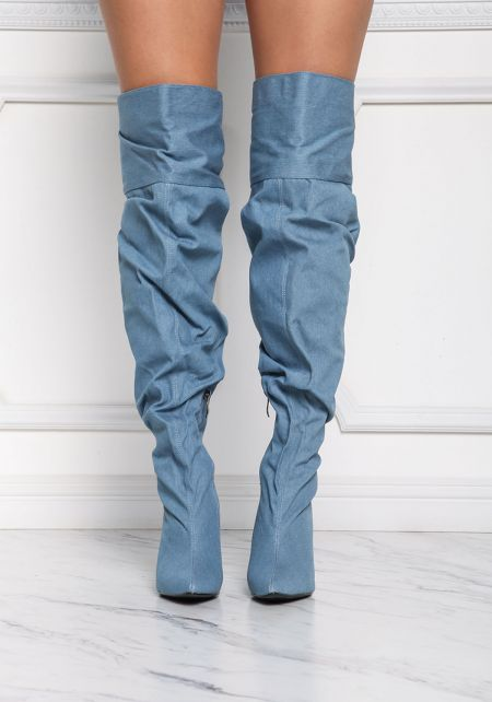 Cape Robbin Denim Over The Knee Boots