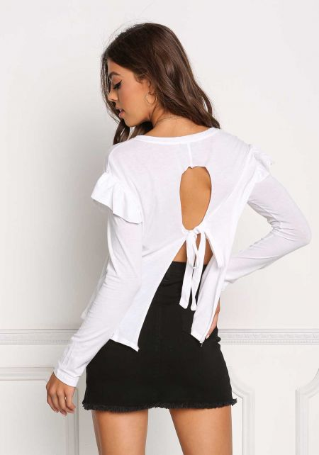 White Ruffle Layer Tie Back Top