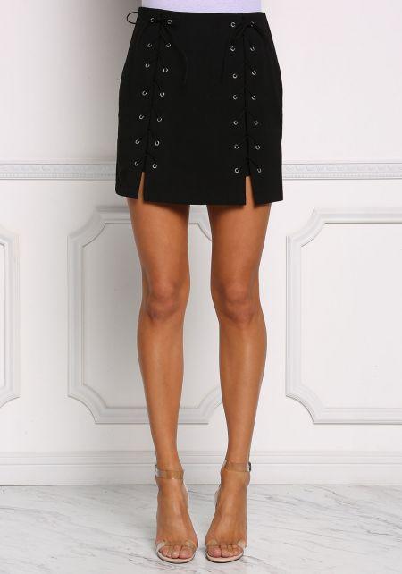 Black Front Lace Up Slit Skirt