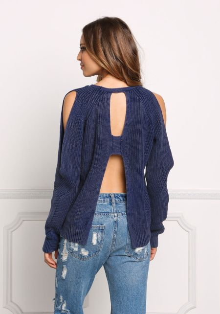 Navy Back Cut Out Chunky Sweater Top