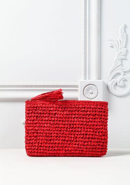 Red Woven Tassel Clutch