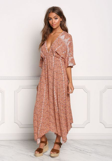 Rust Floral V Plunge Pointed Maxi Dress