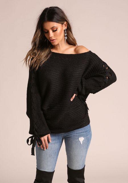 Black Sleeve Lace Up Off Shoulder Sweater