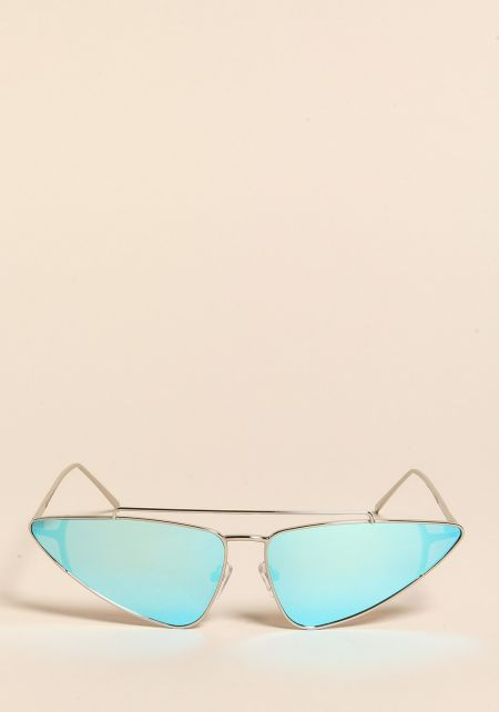 Blue Pointed Top Bar Sunglasses