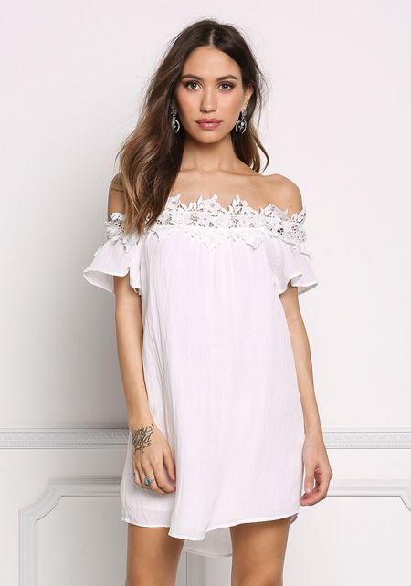 Off White Floral Embroidered Off Shoulder Shift Dr