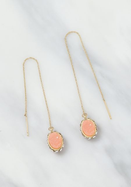 Pink Stone Thin Chain Drop Earrings