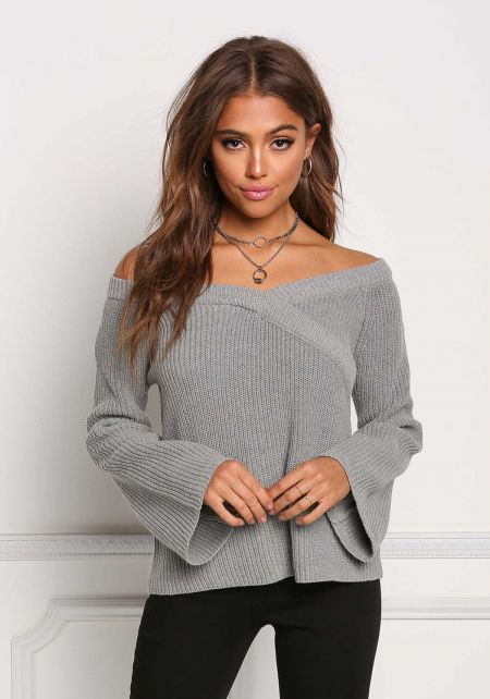 Heather Grey Thick Knit Off Shoulder Sweater Top