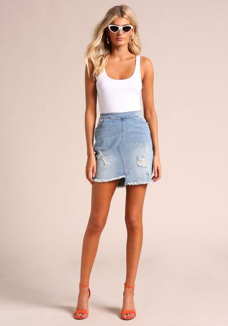 Denim Asymmetrical Distressed Skirt