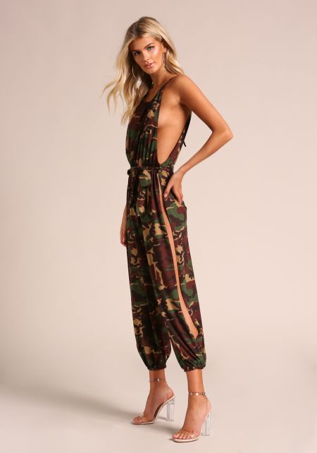Camouflage Low Side Slit Genie Jumpsuit