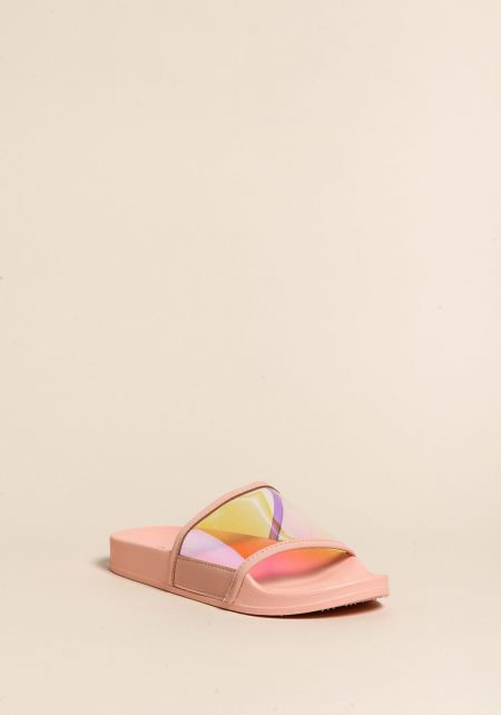 Pink Iridescent Slide Sandals
