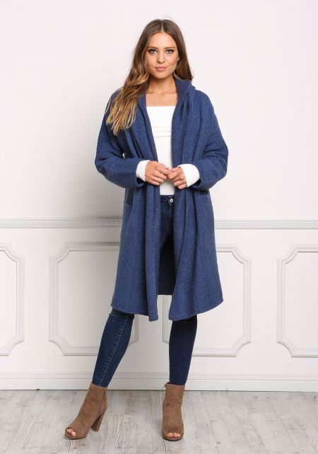 Dark Blue Longlined Thick Knit Cardigan