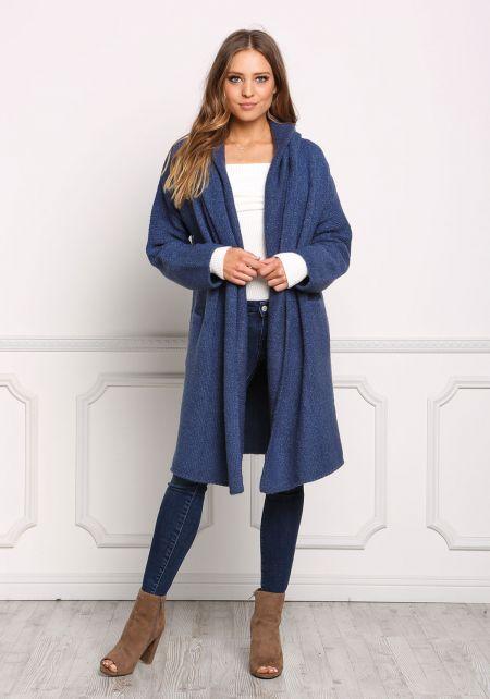 Dark Blue Longlined Thick Knit Cardigan