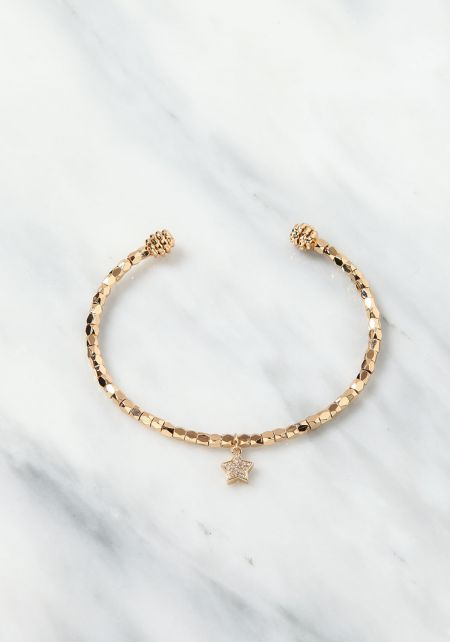 Gold Star Charm Cuff Bracelet
