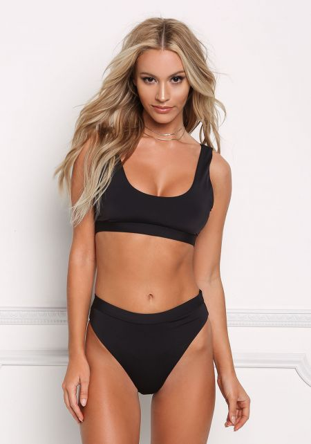 Black Low Scoop Swimsuit Bikini Top