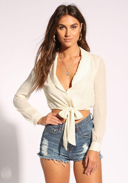Cream Collared Tie Front Crop Top
