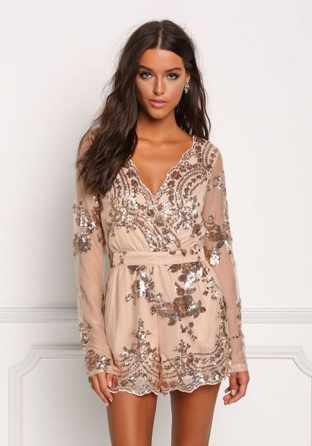 Gold Tulle Sequin Surplice Romper