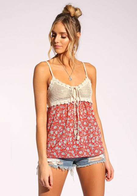 Red Crochet Floral Tank Top