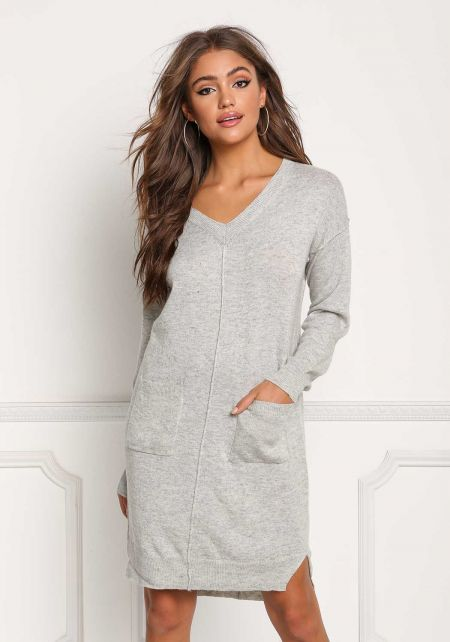 Heather Grey Soft Knit Pocket Shift Dress