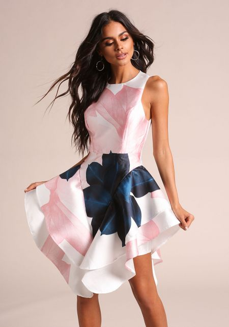 Blush Taffeta Floral Voluminous Flared Dress