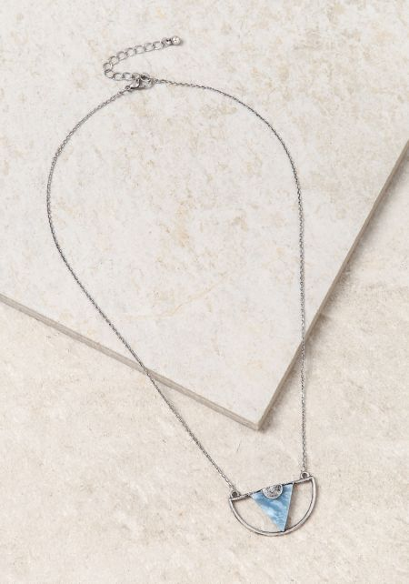 Blue Triangle Stone Pendant Necklace