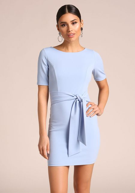 Baby Blue Waist Tie Bodycon Dress