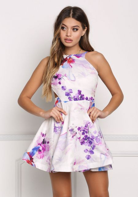 Multi Floral Open Back Flared Dress