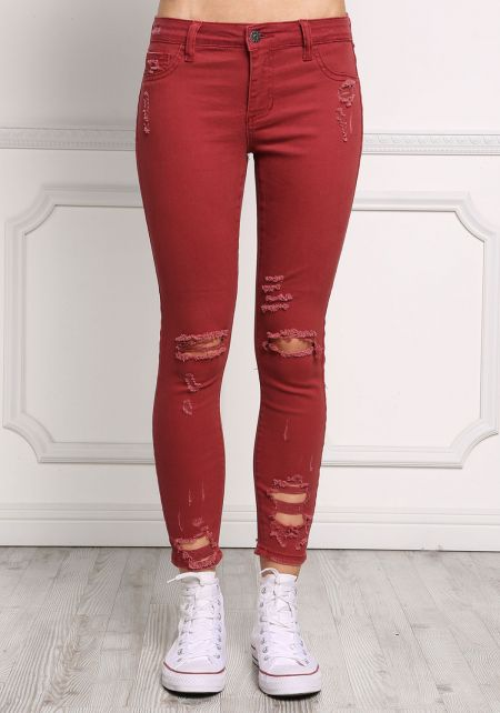 Brick Low Rise Distressed Skinny Jeans