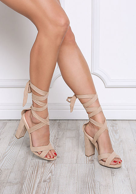 Natural Suedette Thick Lace Up Heels