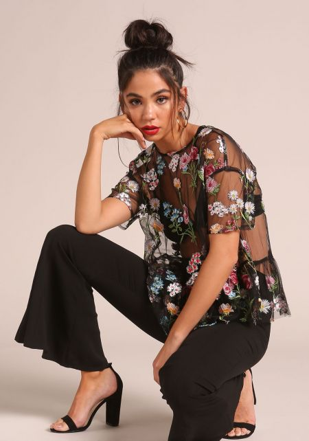 Black Tulle Floral Embroidered Blouse