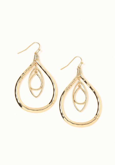 Gold Double Teardrop Earrings