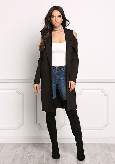 Black Draped Cold Shoulder Blazer