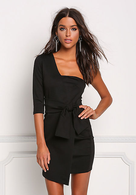 Black One Shoulder Faux Wrap Bodycon Dress