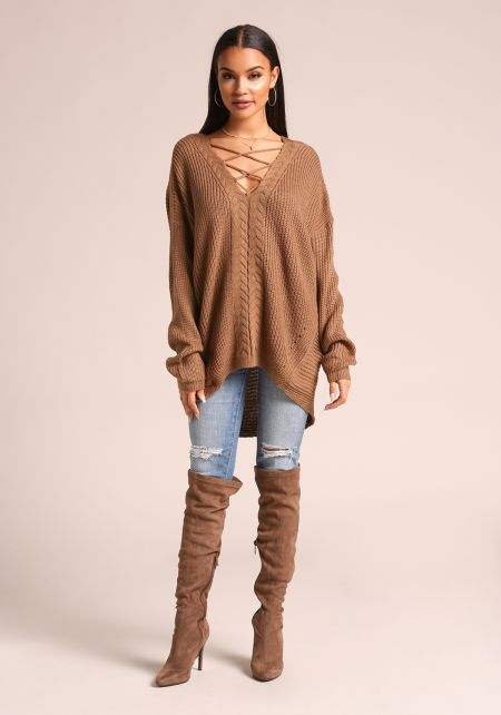 Mocha Cross Strap Hi-Lo Knit Sweater Top