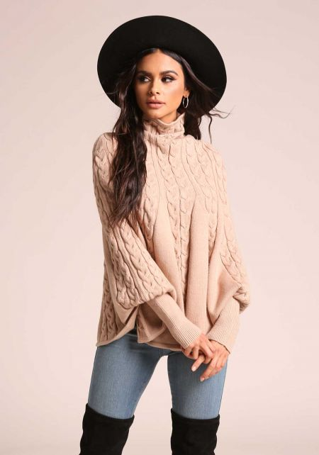 Latte Cable Knit Ruffle Poncho Sweater