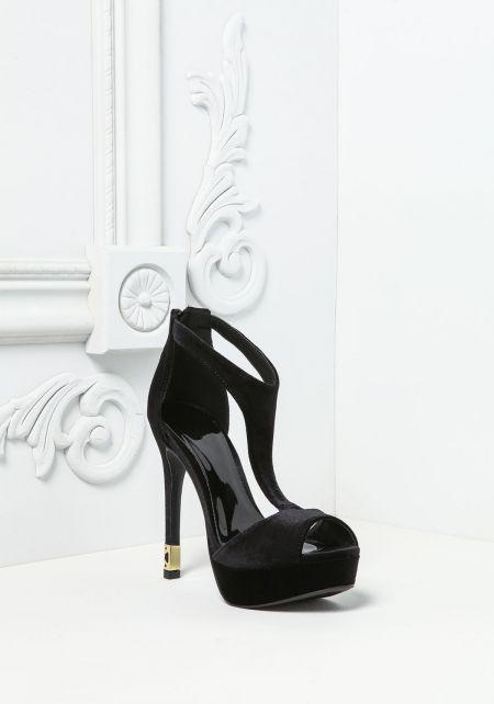 Black Velvet Peep Toe Heels
