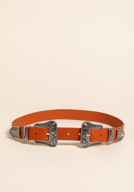 Brown Leatherette Engraved Double Buckle Belt