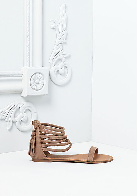 Taupe Suedette Multi Strap Sandals