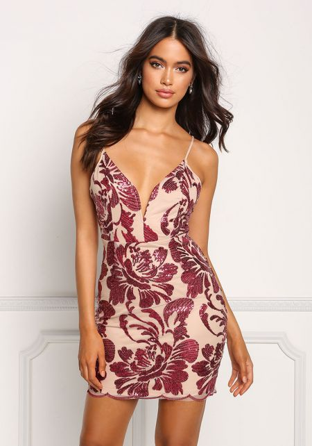 Burgundy Sheer Floral Sequin Bodycon Dress