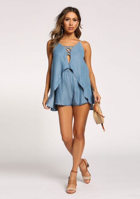 Medium Denim Layered Cross Strap Romper